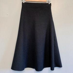 Zara || High Waisted Midi Skirt with Faint Stripes